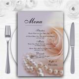 Lilac Rose Pearls Personalised Wedding Menu Cards