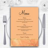 Peach Gold Pretty Personalised Wedding Menu Cards