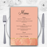 Peach Pink Pretty Personalised Wedding Menu Cards