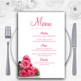 Pink Pretty Roses Personalised Wedding Menu Cards