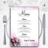Pink Rose Bubbles Personalised Wedding Menu Cards