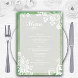 Rustic Green Lace Personalised Wedding Menu Cards