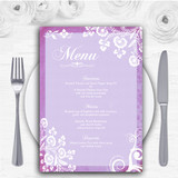 Rustic Lilac Lace Personalised Wedding Menu Cards