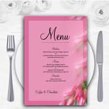 Warm Pink Flowers Personalised Wedding Menu Cards