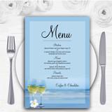 Wine On The Beach Personalised Wedding Menu Cards