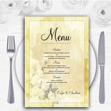 Yellow Cream Lace Personalised Wedding Menu Cards