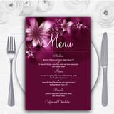 Beautiful Purple Personalised Wedding Menu Cards