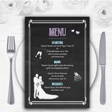 Chalkboard Lilac Personalised Wedding Menu Cards