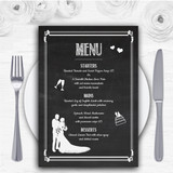 Chalkboard White Personalised Wedding Menu Cards