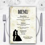 Cream Roses Chic Personalised Wedding Menu Cards