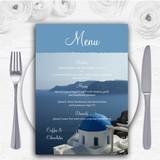 Greece Santorini Personalised Wedding Menu Cards