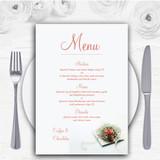 Peach Coral Rose Personalised Wedding Menu Cards