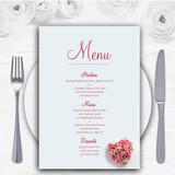 Pink Heart Roses Personalised Wedding Menu Cards