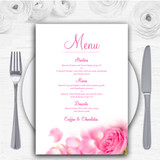Pink Rose Petals Personalised Wedding Menu Cards