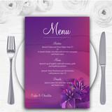 Purple Pink Lily Personalised Wedding Menu Cards