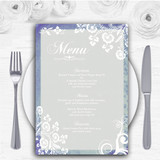 Rustic Blue Lace Personalised Wedding Menu Cards