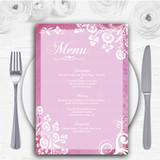 Rustic Pink Lace Personalised Wedding Menu Cards