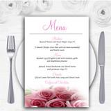 Baby Pink Roses Personalised Wedding Menu Cards
