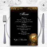Black Champagne Personalised Wedding Menu Cards