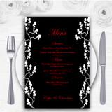 Black White Red Personalised Wedding Menu Cards