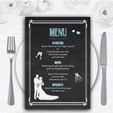 Chalkboard Aqua Personalised Wedding Menu Cards