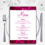 Hot Pink Hearts Personalised Wedding Menu Cards