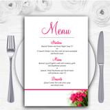 Hot Pink Tulips Personalised Wedding Menu Cards