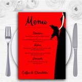 Red Black Bride Personalised Wedding Menu Cards