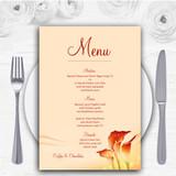 Red Orange Lily Personalised Wedding Menu Cards