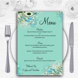 Aqua Turquoise Personalised Wedding Menu Cards