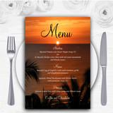 Florida Sunset Personalised Wedding Menu Cards