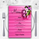 Pink Tulips Personalised Wedding Menu Cards