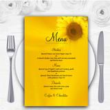 Sunflowers Personalised Wedding Menu Cards