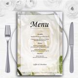 White Rose Personalised Wedding Menu Cards