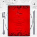 Red Flare Personalised Wedding Menu Cards