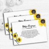 Stunning Watercolour Sunflower Custom Wedding Gift Request Money Poem Cards