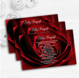Deep Red Wet Rose Personalised Wedding Gift Cash Request Money Poem Cards