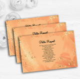 Peach Gold Pretty Personalised Wedding Gift Cash Request Money Poem Cards