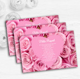 Pretty Pink Roses Personalised Wedding Gift Cash Request Money Poem Cards