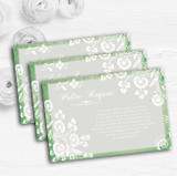 Rustic Green Lace Personalised Wedding Gift Cash Request Money Poem Cards