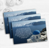 Greece Santorini Personalised Wedding Gift Cash Request Money Poem Cards