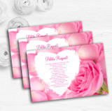 Pink Rose Petals Personalised Wedding Gift Cash Request Money Poem Cards