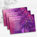 Purple Pink Lily Personalised Wedding Gift Cash Request Money Poem Cards