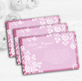 Rustic Pink Lace Personalised Wedding Gift Cash Request Money Poem Cards