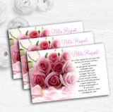 Baby Pink Roses Personalised Wedding Gift Cash Request Money Poem Cards