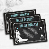 Chalkboard Aqua Personalised Wedding Gift Cash Request Money Poem Cards
