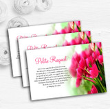 Hot Pink Tulips Personalised Wedding Gift Cash Request Money Poem Cards