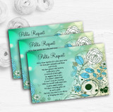Aqua Turquoise Personalised Wedding Gift Cash Request Money Poem Cards
