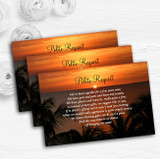 Florida Sunset Personalised Wedding Gift Cash Request Money Poem Cards