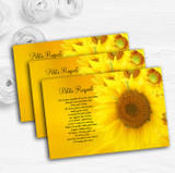 Sunflowers Personalised Wedding Gift Cash Request Money Poem Cards